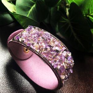Jewelry - Amethyst Adjustable Purple Cuff • Boho
